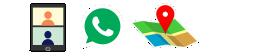 ícones: dois bonequinhos em videoconferência, whatsapp, localização no mapa sobre fundo azul esuro