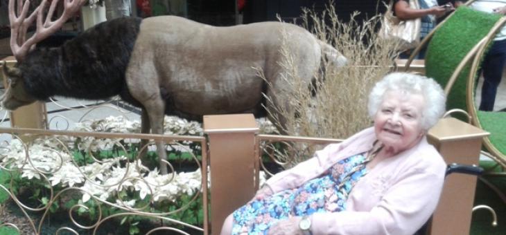 Foto de senhora idosa que em sua cadeira de rodas tem acesso à visitação de cenário de Natal em Shopping Center. Ao fundo uma escultura de rena de Papai Noel