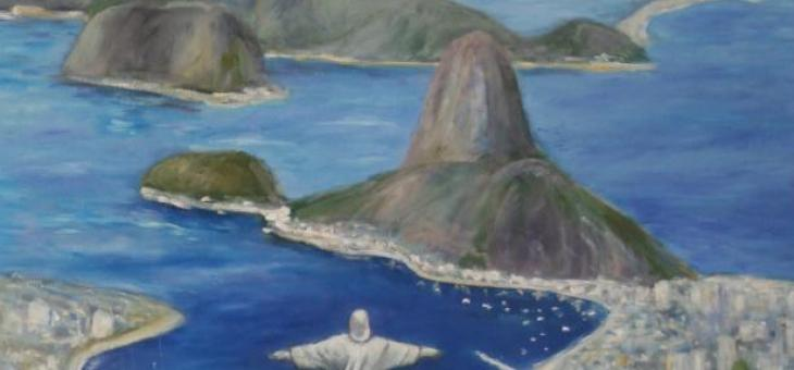 A pintura a óleo que retrata o Cristo Redentor no topo do morro do Corcovado, a 709 metros acima do nível do mar, no Parque Nacional da Tijuca, com vista para a maior parte da cidade do Rio de Janeiro, Brasil