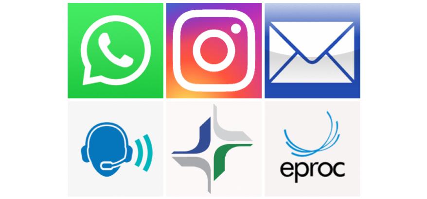icones whatsapp, instagram, email, teleatendimento, eproc