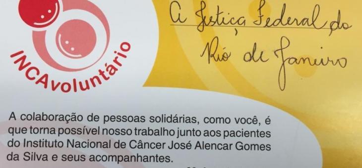Certificado de doação ao INCA