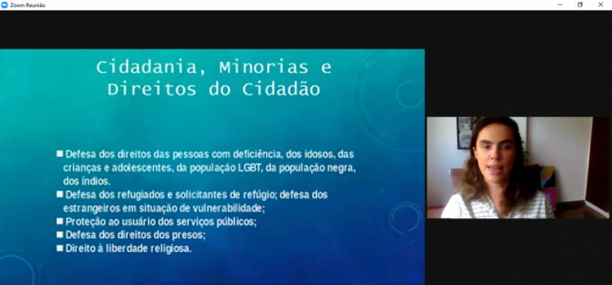 print da tela do computador da apresentação de Bruna Menezes com texto sobre cidadania, minorias e direitos dos cidadãos