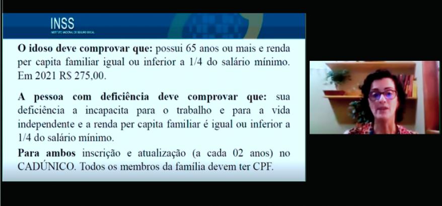 print da tela do computador sobre a apresentação de Márcia Matias, com texto sobre as regras e requisitos para obtenção do benefício previdenciario