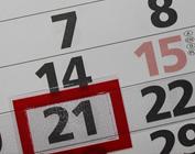 Foto de calendário com dia 21 marcado