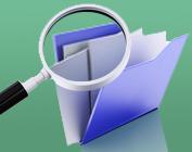 Lupa procurando em pasta de documentos
